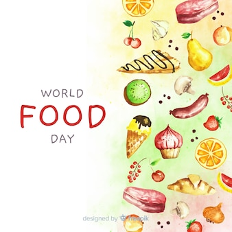 Watercolor world food day with aliments