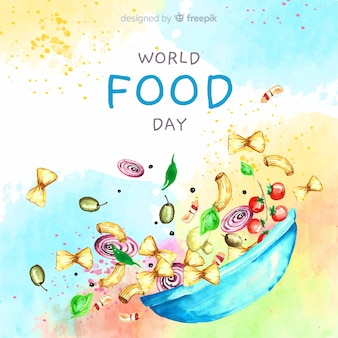 Watercolor world food day with bowl