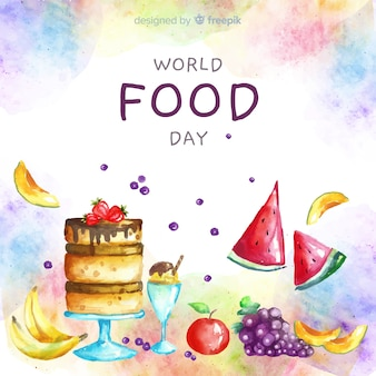 Watercolor world food day with cake
