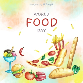 Watercolor world food day with pizza slice