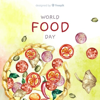 Watercolor world food day with pizza