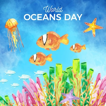 Watercolor world oceans day background