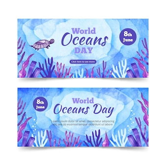 Watercolor world oceans day banner template