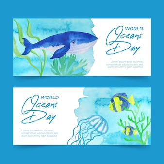 Watercolor world oceans day banner
