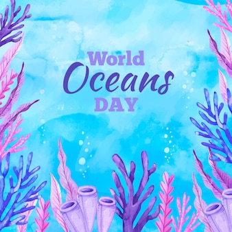 Watercolor world oceans day concept