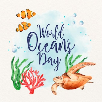 Watercolor world oceans day illustration