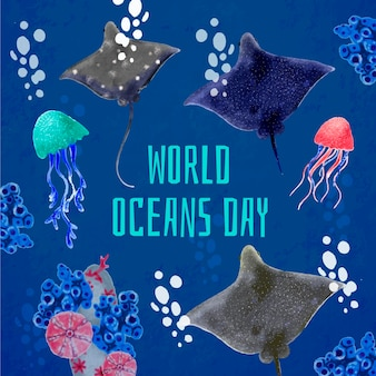 Акварельная тема дня мирового океана