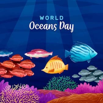 水彩世界海の日