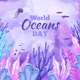Watercolor world oceans day