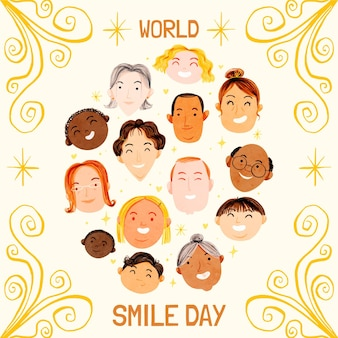 Watercolor world smile day illustration