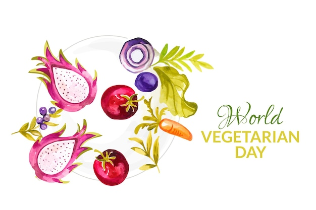 Watercolor world vegetarian day background