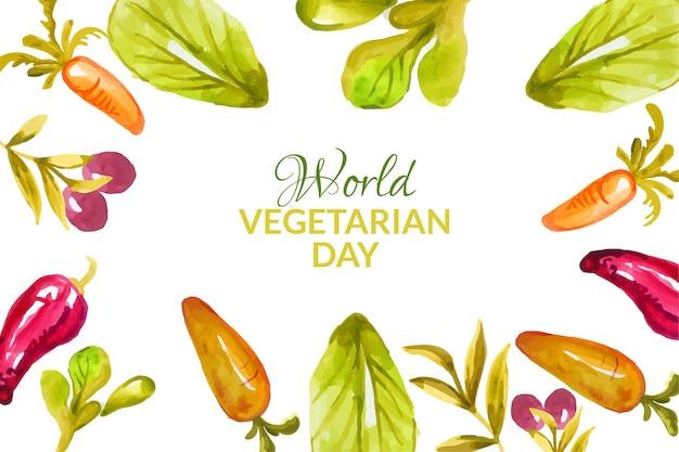수채화 세계 채식의 날 배경