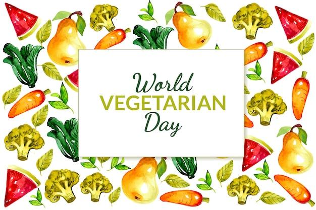 Watercolor world vegetarian day illustration