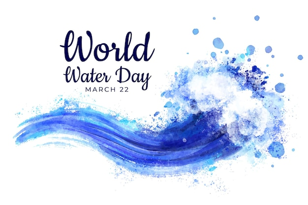 Watercolor world water day painting