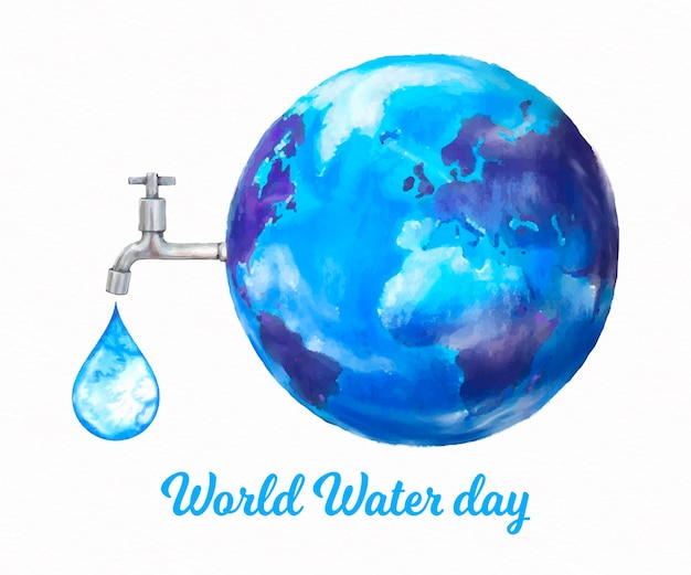 Watercolor world water day