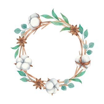 Watercolor wreath of cotton flowers, anise and twigs isolated