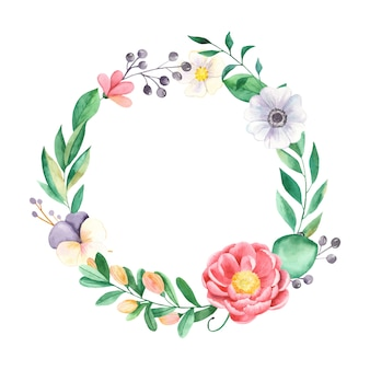 Watercolor wreath of flowers