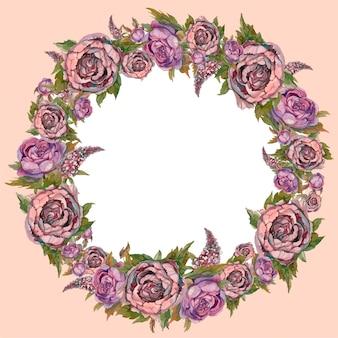 Watercolor wreath of flowers