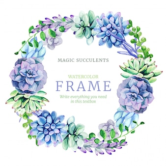 Watercolor wreath frame composed of bright full color succulents