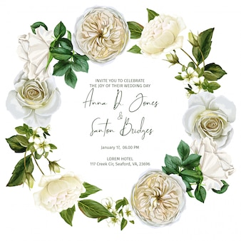 흰 장미와 나뭇잎으로 구성 된 수채화 화 환 프레임