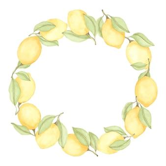 レモンと緑の葉と水彩花輪フレーム