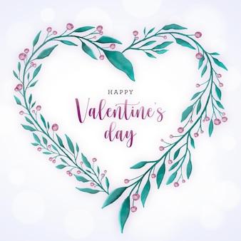 幸せなバレンタインデーのための植物の要素を持つ水彩画の花輪の心