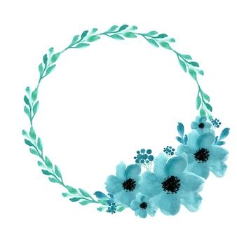 수채화 화 환 고립 된 벡터 일러스트 레이 션. 여름 배경입니다. 봄 청첩장입니다. 식물 예술. 가지, 잎, 꽃.