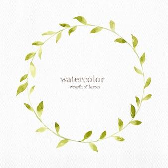 Watercolor wreath of leaves