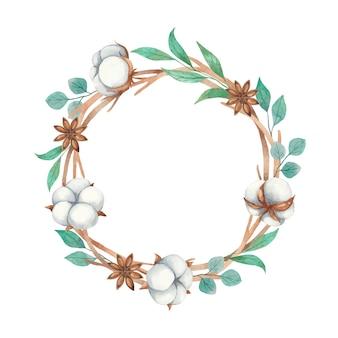 綿の花、アニス、小枝の分離の水彩画の花輪