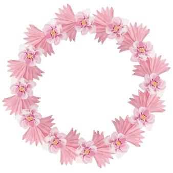 섬세한 핑크 열대 꽃 수채화 화환