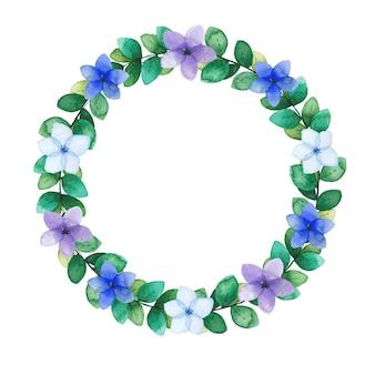 緑の小枝と花の水彩画の花輪。ベクトルイラスト。