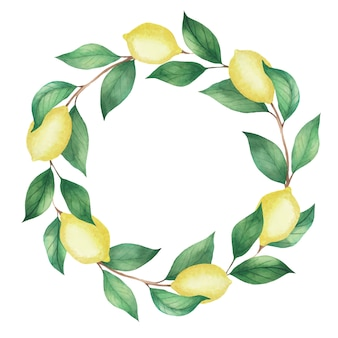 レモンと緑の枝の水彩花輪を残します。図