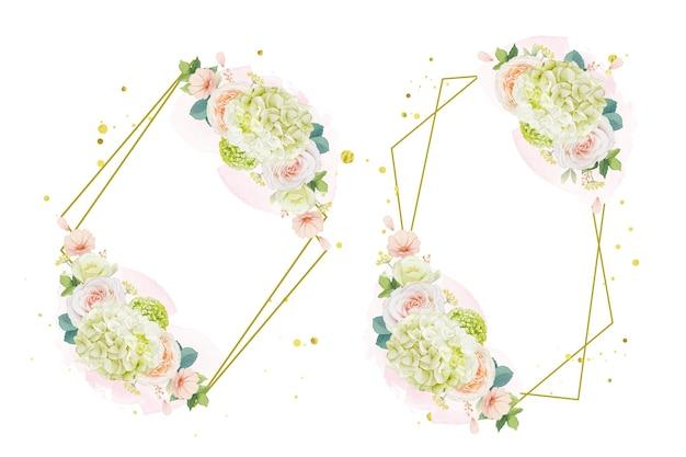 桃のバラとアジサイの花の水彩画の花輪