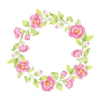 Акварельный венок из розовых цветов и зеленых веток, листьев на белом фоне, японская камелия