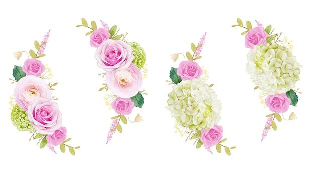 핑크 장미와 수국의 수채화 화환