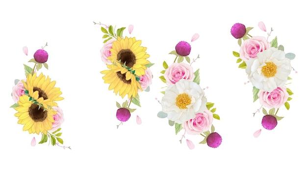 ピンクのバラとひまわりの水彩画の花輪