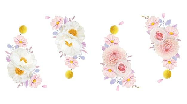 ピンクのバラのダリアと牡丹の花の水彩画の花輪