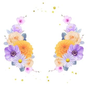 보라색과 노란색 꽃의 수채화 화환