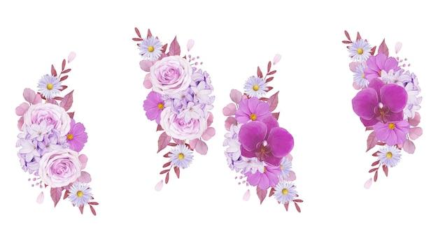 보라색 장미와 난초의 수채화 화환