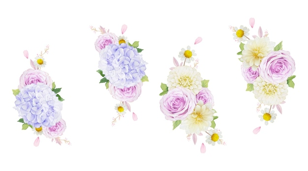 보라색 장미 달리아와 수국 꽃의 수채화 화환