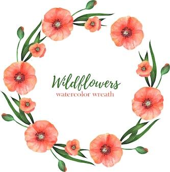 흰색 바탕에 녹색 잎 붉은 양 귀 비의 수채화 화 환. 결혼식 및 기타를위한 여름 꽃 프레임.