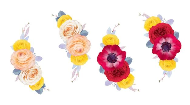 붉은 장미 말미잘과 라넌큘러스 꽃의 수채화 화환