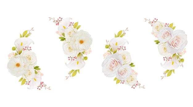 흰 장미와 칼라 릴리의 수채화 화환