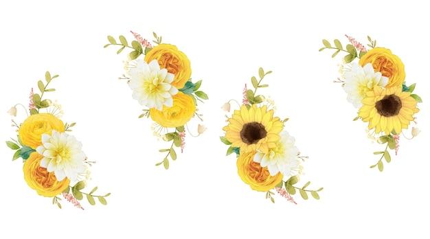 노란 꽃의 수채화 화환