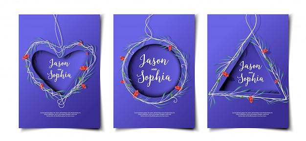 Watercolor wreath and papercut invitation card set