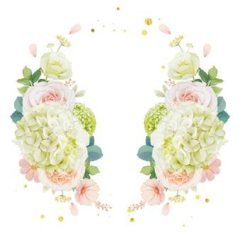Corona dell'acquerello di rose di pesca e fiore di ortensia