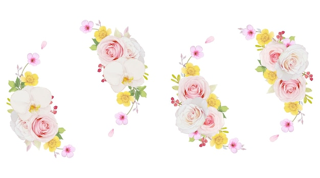 Watercolor wreath of pink rose and orchid