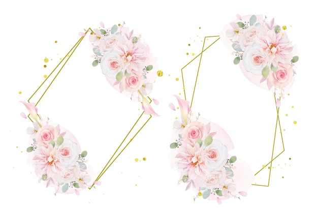 Watercolor wreath of pink roses  dahlia and lily flower