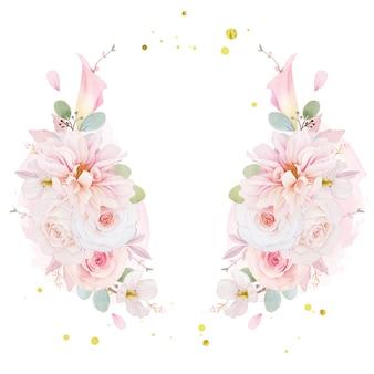 Corona dell'acquerello di rose rosa dalia e fiore di giglio