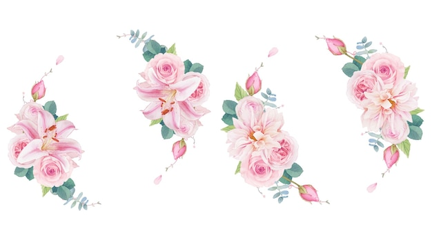 Watercolor wreath of pink roses lily and dahlia
